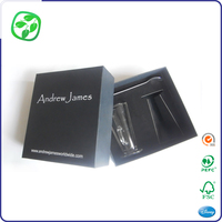gift customized black paper box for glass packging