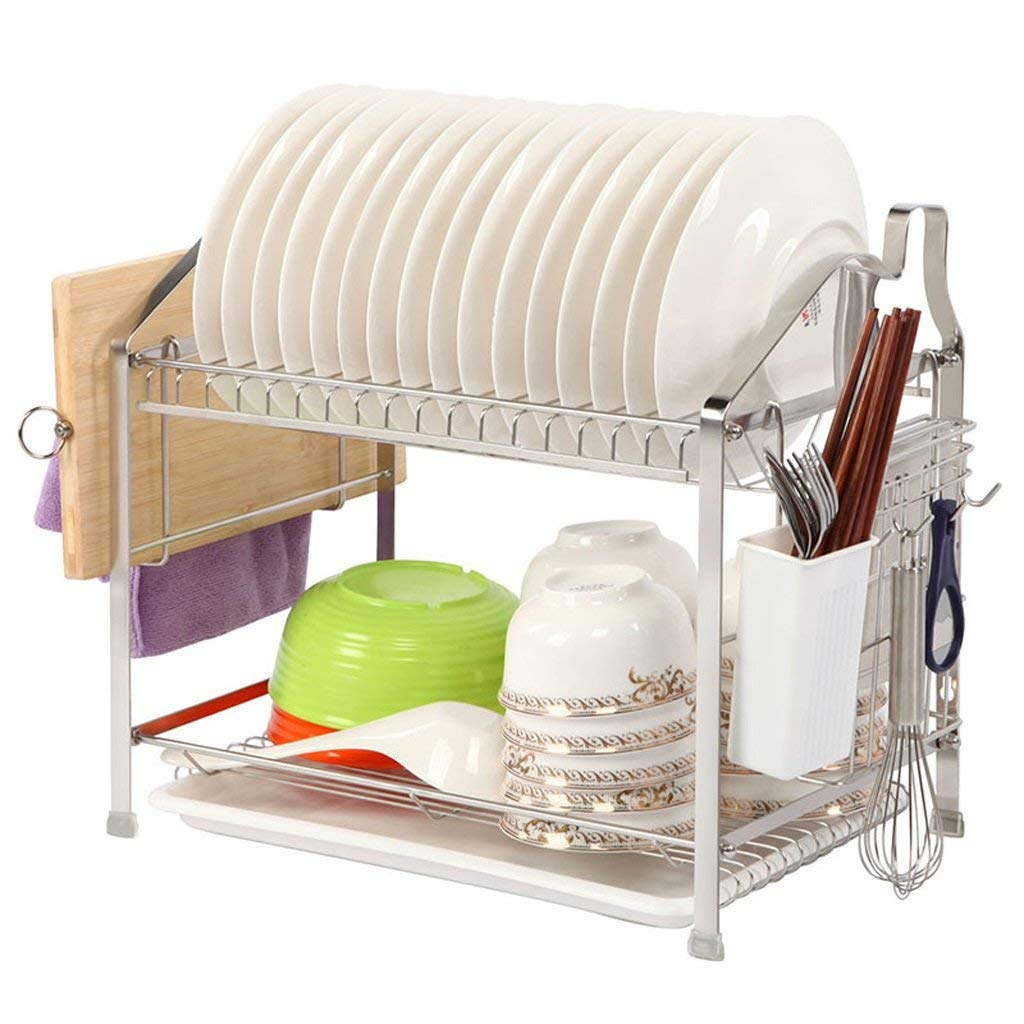 TLMY Stainless Steel Dish Rack Double Drain Dish Rack Kitchen Rack Wall Stainless Steel Dish Rack Kitchen storage