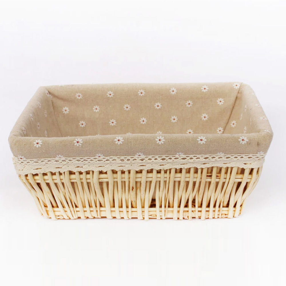 Willow Wicker Storage Basket With Liner For Home: Willow Wicker Basket Fashion Storage Basket With Liner For