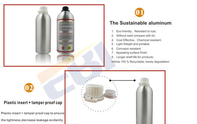 Empty clear aluminium bottles for chemicals