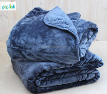 Flannel and sherpa fleece plush throw cozy oversized blanket