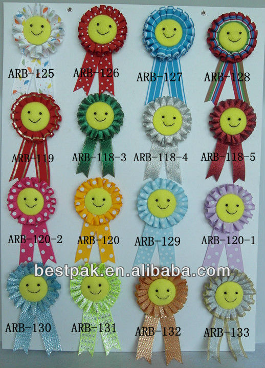 2013 lovely smile face various ribbon brooch
