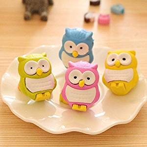 Katoot@ 12pcs/lot Novelty 3D Owl shaped eraser Kawaii drawing erasers kids gift office material school supplies escolar Cute stationery