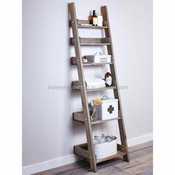 Living room furniture decorative wall wood ladder shelf for bookcase
