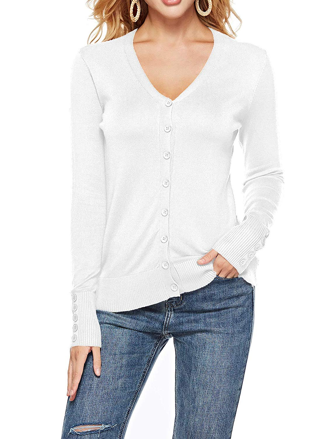 6b06748163 THANTH Womens V Neck Long Sleeve Button Down Knit Cardigan Sweater