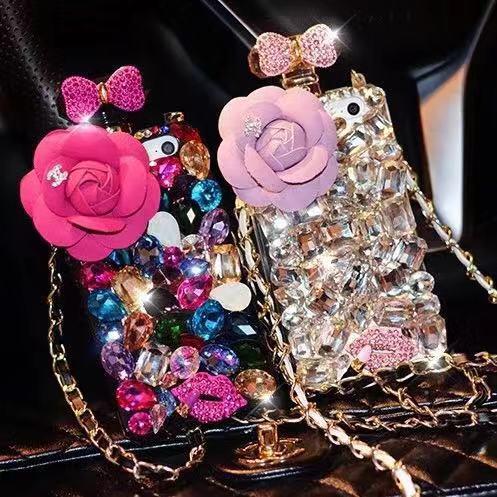 New Luxury Crystal Sparkle Diamond Rhinestone Perfume Bottle Phone Case with lanyard For iphone 7plus 8plus x xr xs max фото