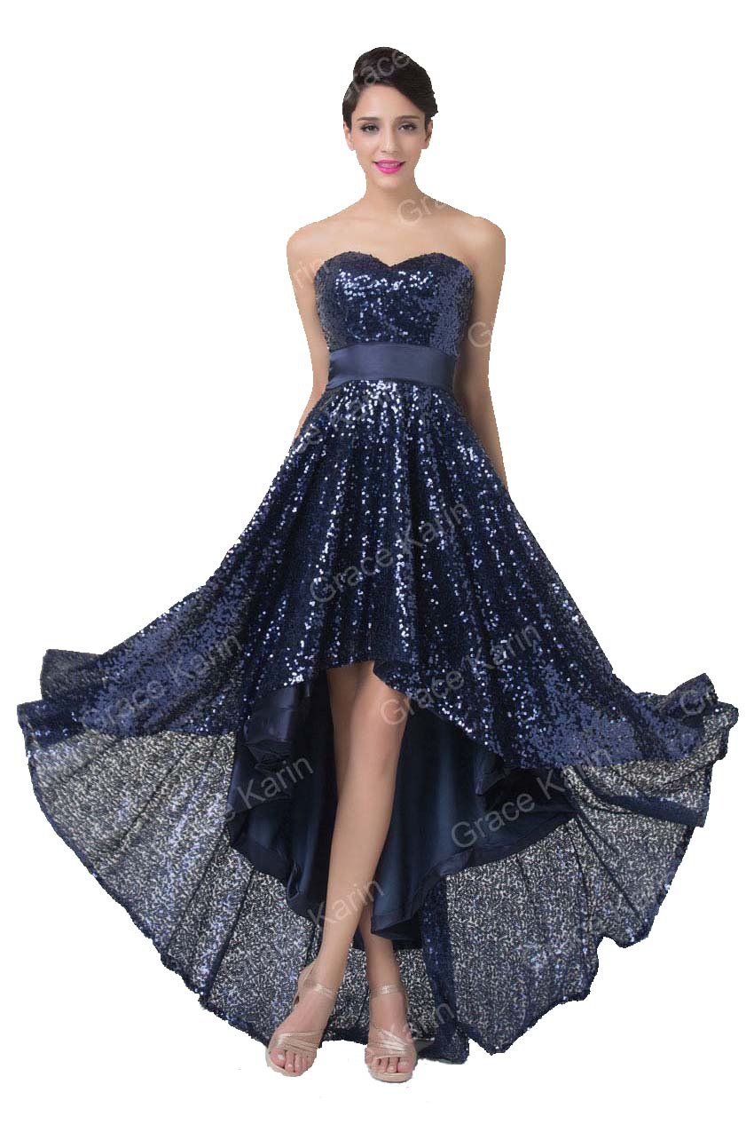 963873ac55fe Deep Blue Sequins Evening Dress Grace Karin 2015 Latest Short Front Long  Back Party Prom Gown