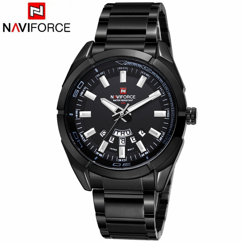 Naviforce Watch 9038 Quartz Men Watches Luxury Sport Waterproof Watches Men's Stainless Steel Wristwatches фото