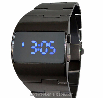 d4af9887d09f Últimas Negro Led Reloj De Acero Inoxidable