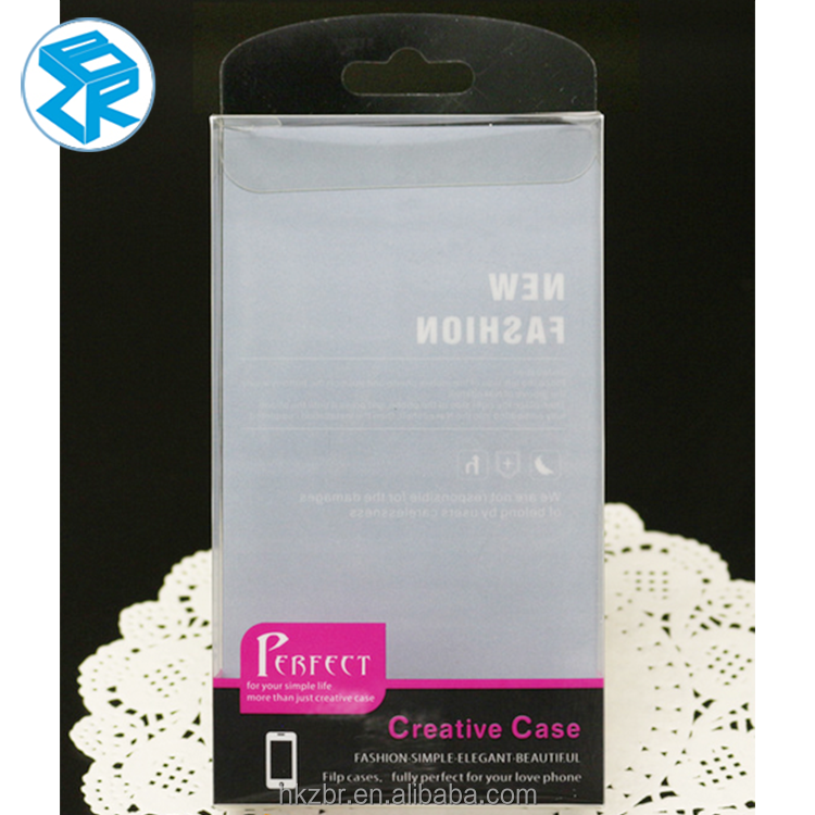 Transparent gift cell phone packing box folding PVC phone case packing retail box with clear pvc window