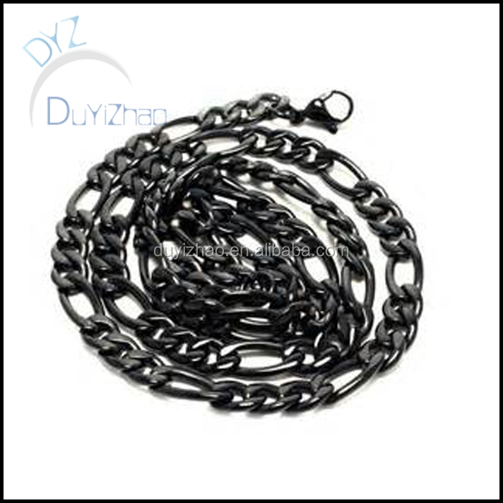 hip hop stainless steel figaro mens necklace in black