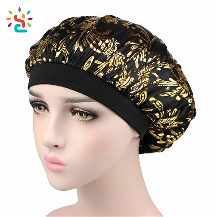 Satin Shower Caps Sleeping Hair Cap printing gold flower Satin Hairs Bonnet Fashion Comfortable Women black Shower hat
