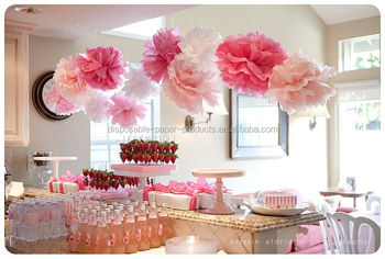 Girls Birthday Party Ideas Backdrop Hanging Tissue Paper Pom Pom