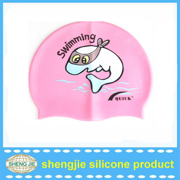2015 various colors printing silicone swim cap for kids