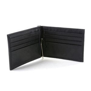 Genuine Leather slim wallet with money clip wallet custom metal money clip men gender rfid blocking spring money clip