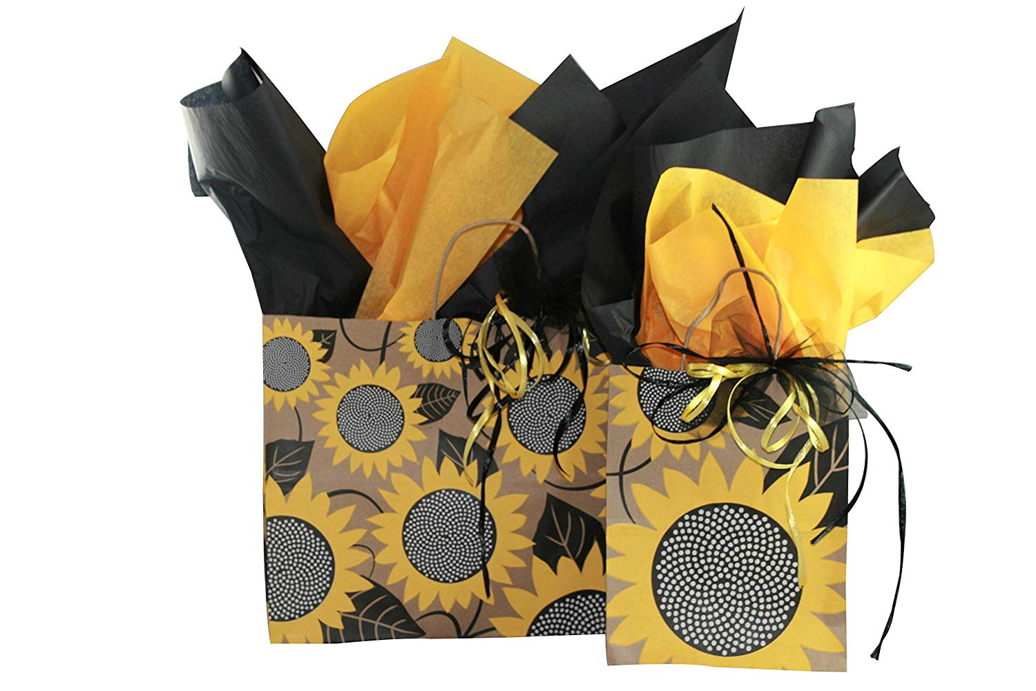 All Occasion Gift Bag Assortment with Coordinating Tissue Paper and Ribbon - 17 Pieces (Sunflower Fields)