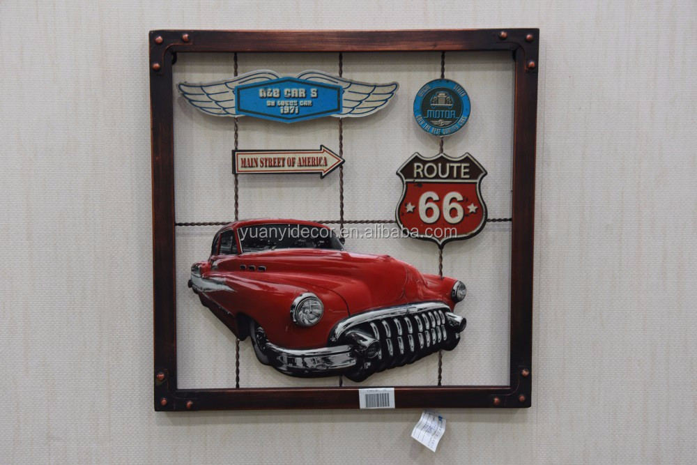 Antique Motor Vehicle Metal Wall Custom Printing Tin Sign