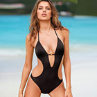 Custom Summer Girl sexy Swimwear Black High Cut Women Bikini