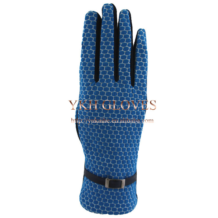 Cellular pattern fabric fashion touch screen polyester winter gloves