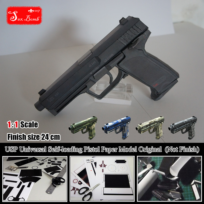 2015 New H K USP Universal Self loading Pistol 3D Paper Model Cosplay Kits Kid Adults