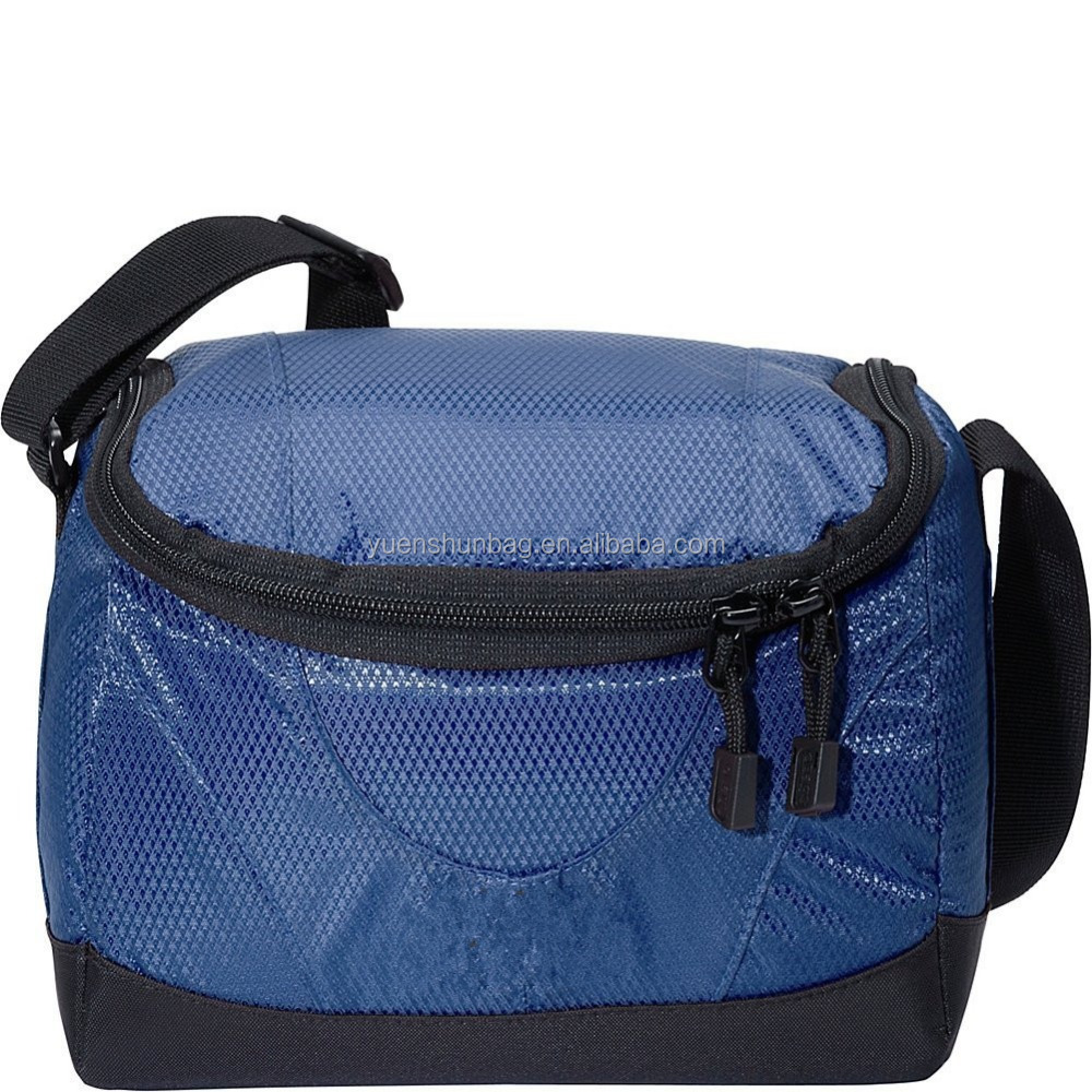 Insulated Polyester Aluminum Foil Navy Blue Can Cooler Bag Lunch Bag