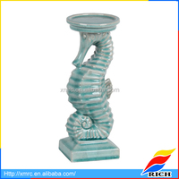 Custom White & Blue Ceramic Seahorse Tea Light Holder Candle Holder