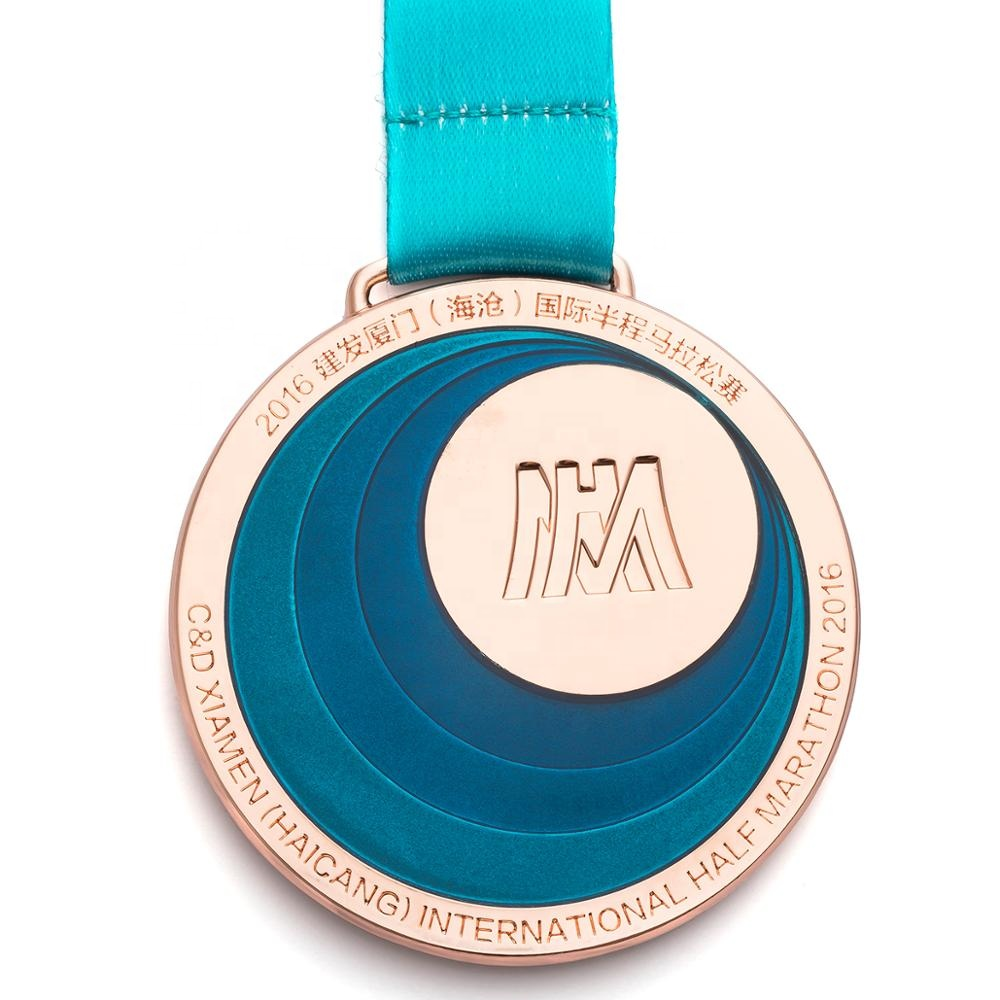 Wholesale blank metal christmas volleyball running marathon sports medals custom medal with ribbon