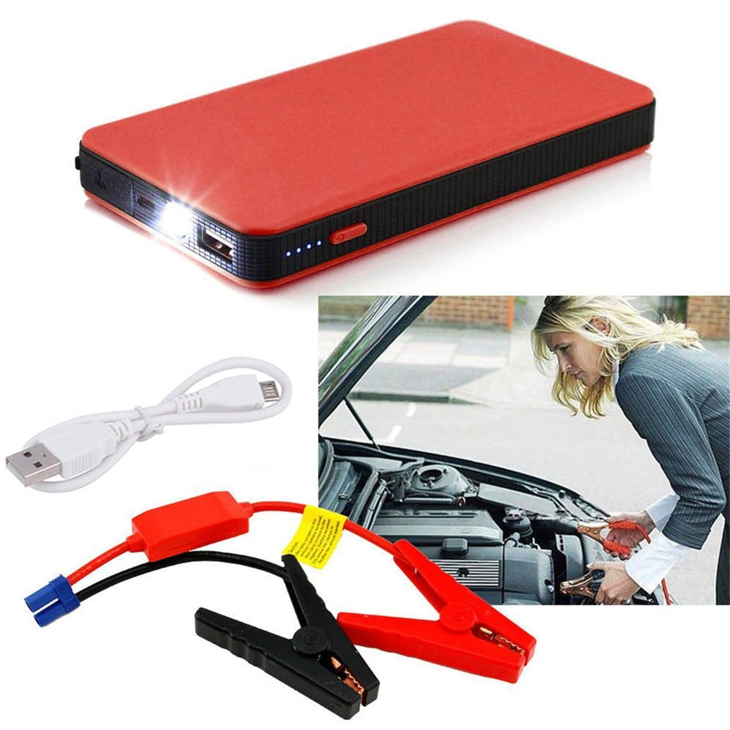 Car Jump Starter,12V 20000mAh Mini Portable Multifunctional Car Jump Starter Power Booster Battery Charger Emergency Start Charger Car Jump Starter Power Booster Battery Charger