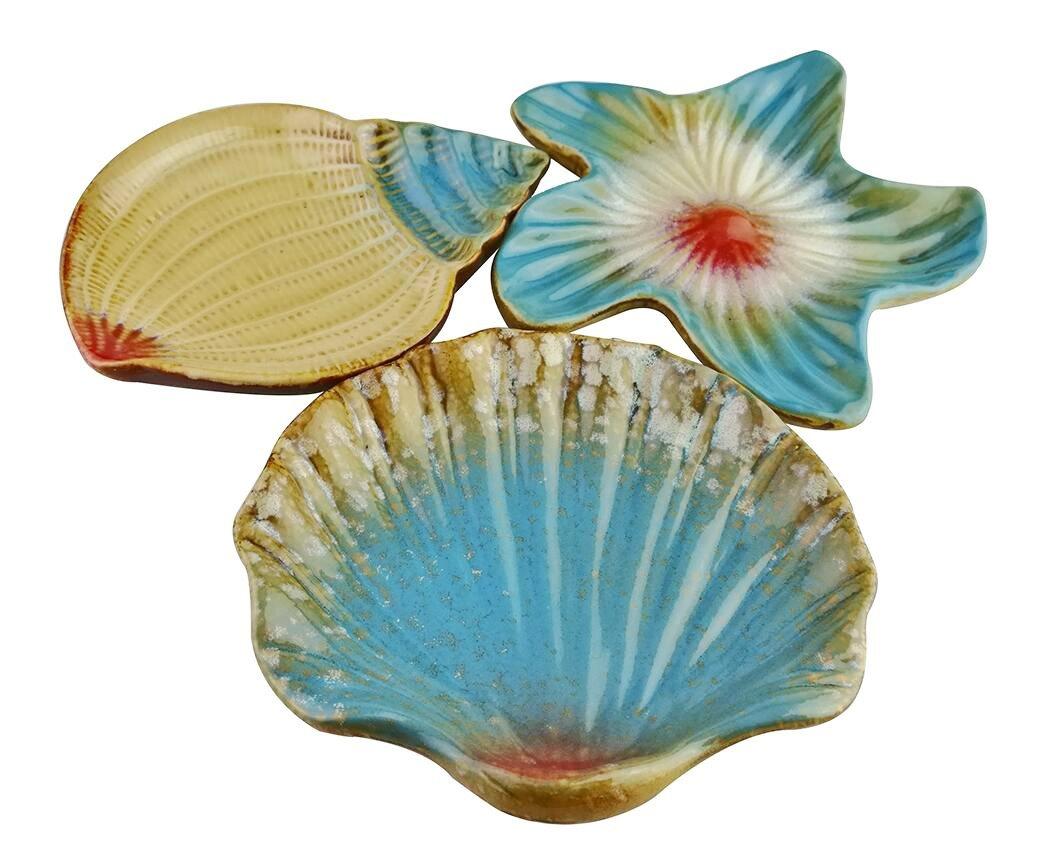 Vintage Mediterranean Style Ocean Starfish Seashell Sea Snail Conch Shape Pattern Ceramic Snack Candy Fruit Sushi Dessert Jewelry Plates Dinnerware Trays Home Decoration Housewarming Gift- Set of 3