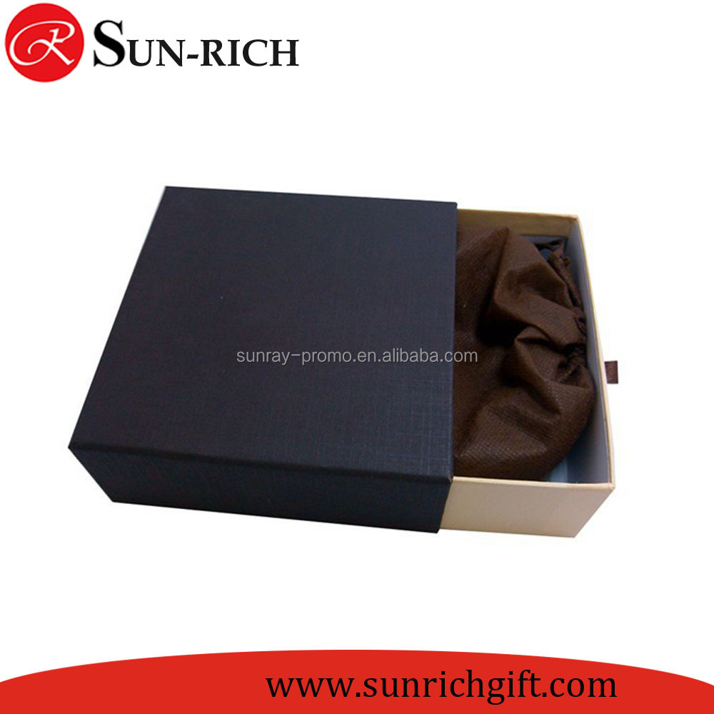 Custom cheap drawer type recycle black paper gift packing box, Jewelry Package Box