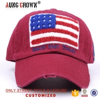 Custom Hot Selling Applique Usa New York Wash Plain Distressed Worn-Out Baseball Caps