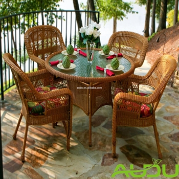 79de9a0b533f Chicago Round designed plastic rattan woven table and chair set garden  outdoor dining furniture