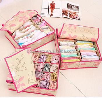 Bedroom Drawer Organizer , Set Of 3 Storage Boxes For Lingerie, Underwear,  Socks,