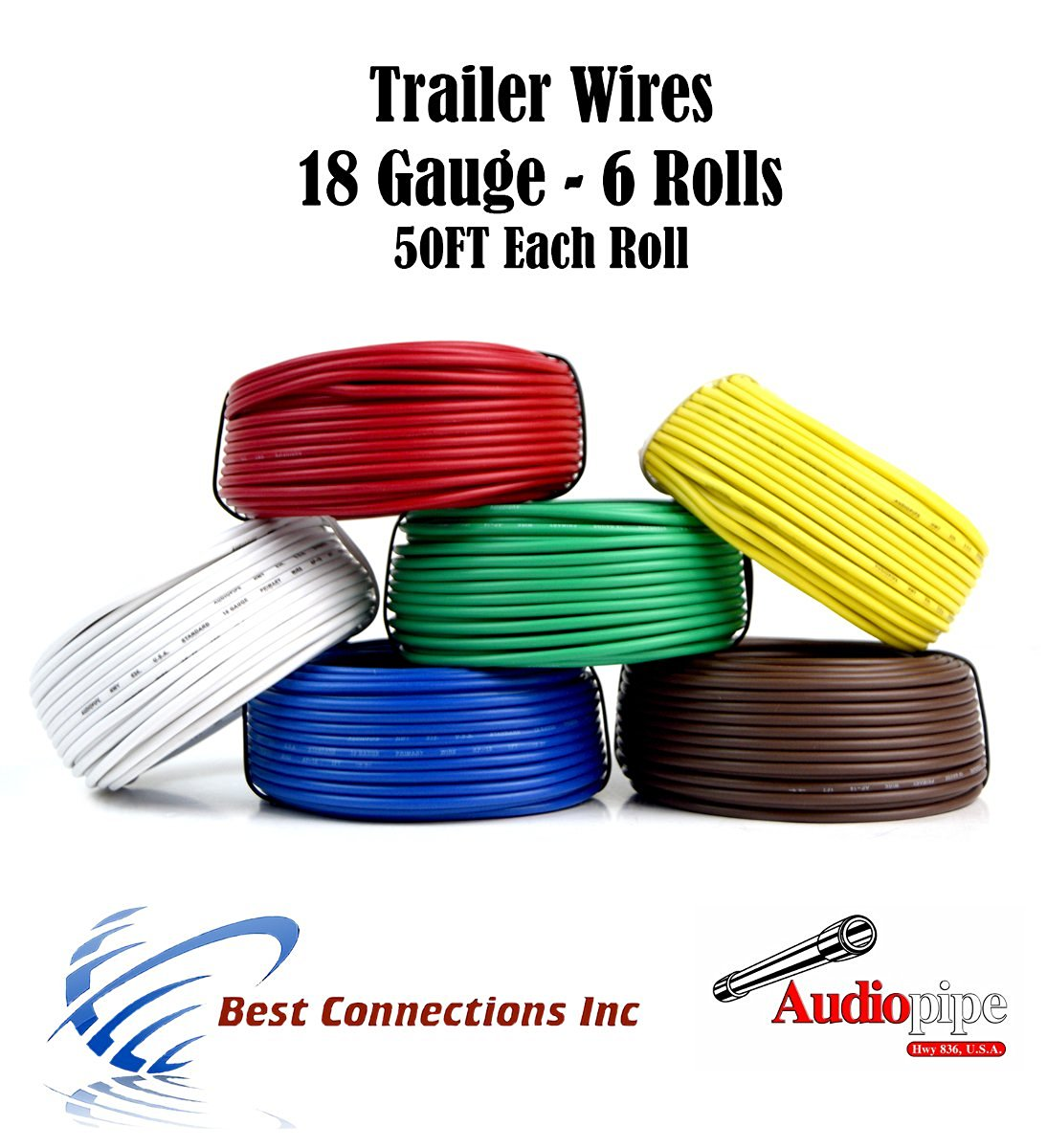 Get Quotations · 6 Way Trailer Wire Light Cable for Harness LED 50ft Each  Roll 18 Gauge 6 Colors