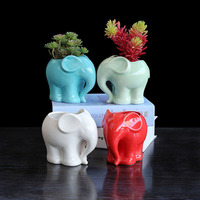 Garden decor elephant shaped animal small cute ceramic flower pot