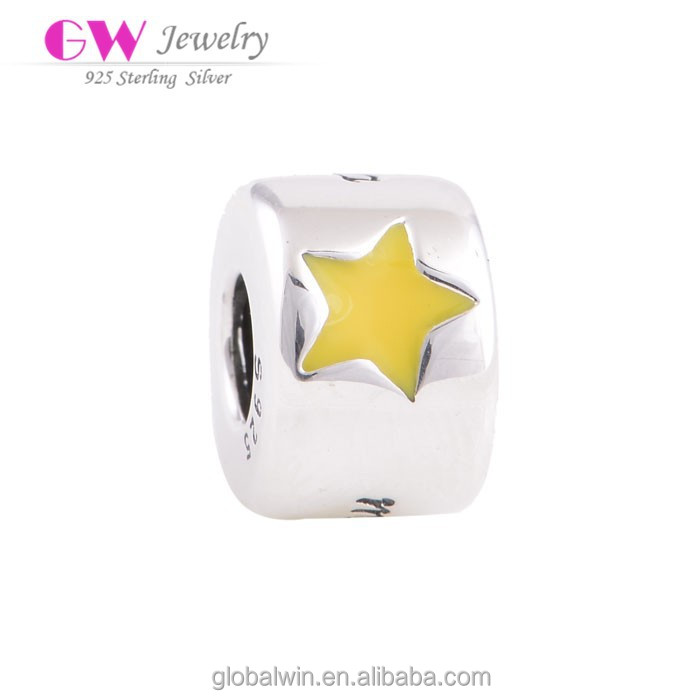 Diy Gift Enamel Beads Sterling Silver Jewelry Fits Bracelets Bangles Silver 925 Fine Brand Star Charms