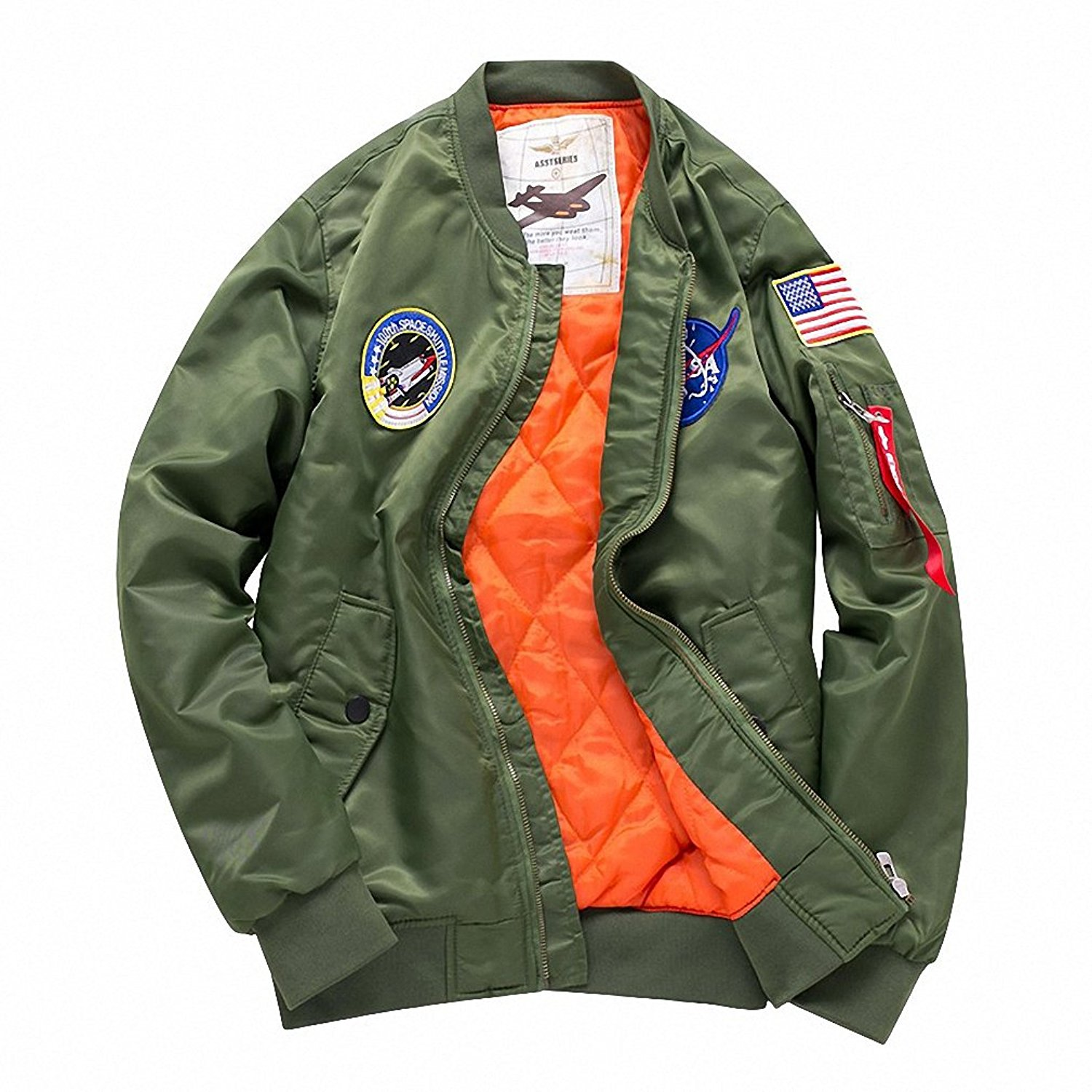 407178b154f Get Quotations · Men top military army green motorcycle letterman air force  Windbreaker jacket pilot bomber flight jacket thick