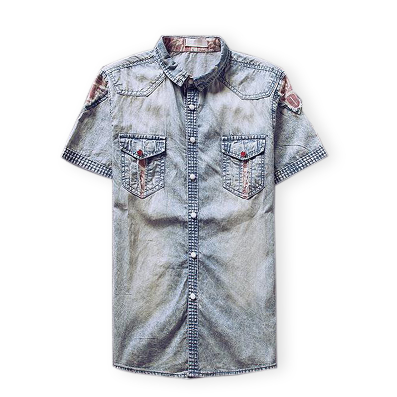 2015 Men Swag Patchwork Vintage Casual Dress Denim Shirts Famous Brand Mens Short Sleeve Slim Fit Jeans Shirt Camisa Masculina