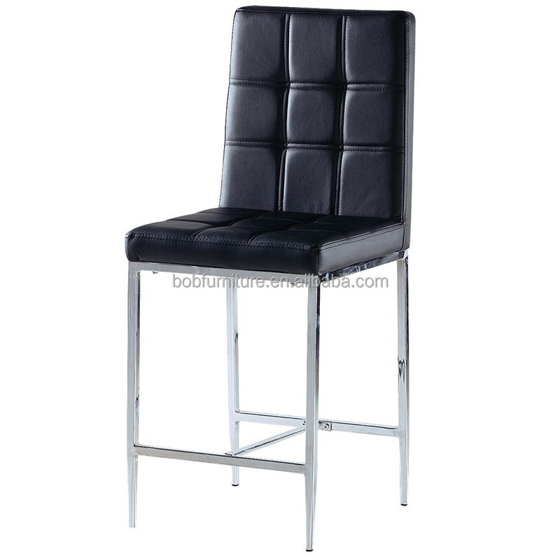 Popular moderno pu asiento patas de metal cromado bar en china