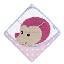 100% cotton monkey baby hooded bath towels pink