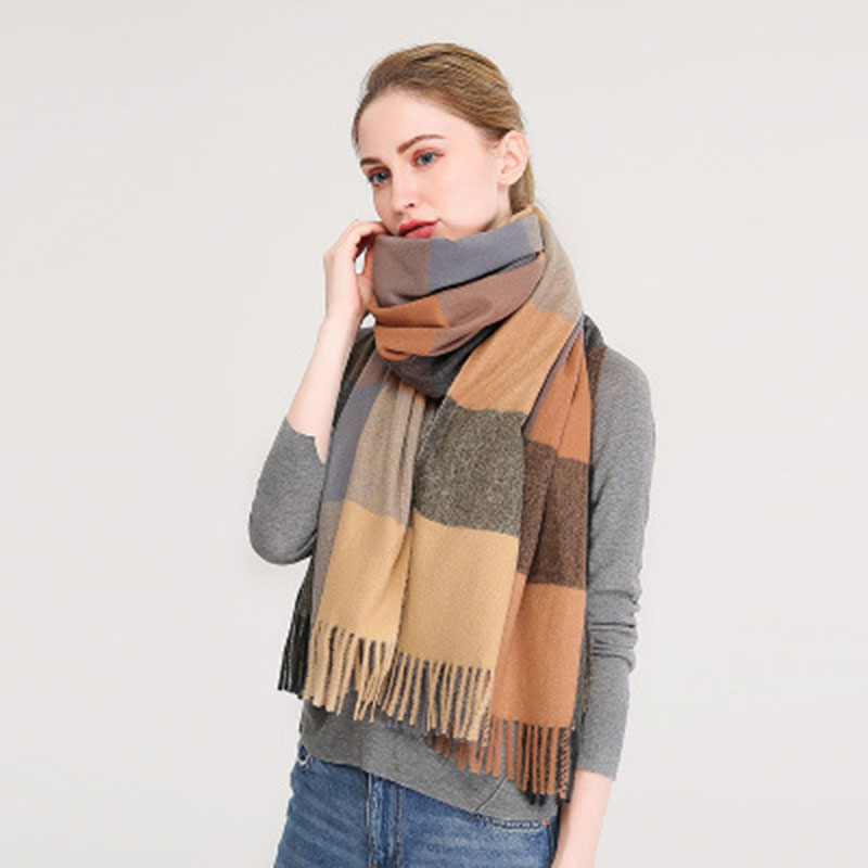 Classic British Style Fashion Cashmere Women Winter Plaid Pashmina Shawl Scarf