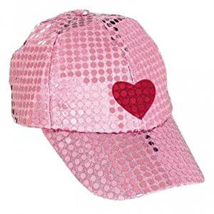 8b7e0a93 Get Quotations · Valentines Day/Hen Night Pink Sequin Baseball Cap with  Heart