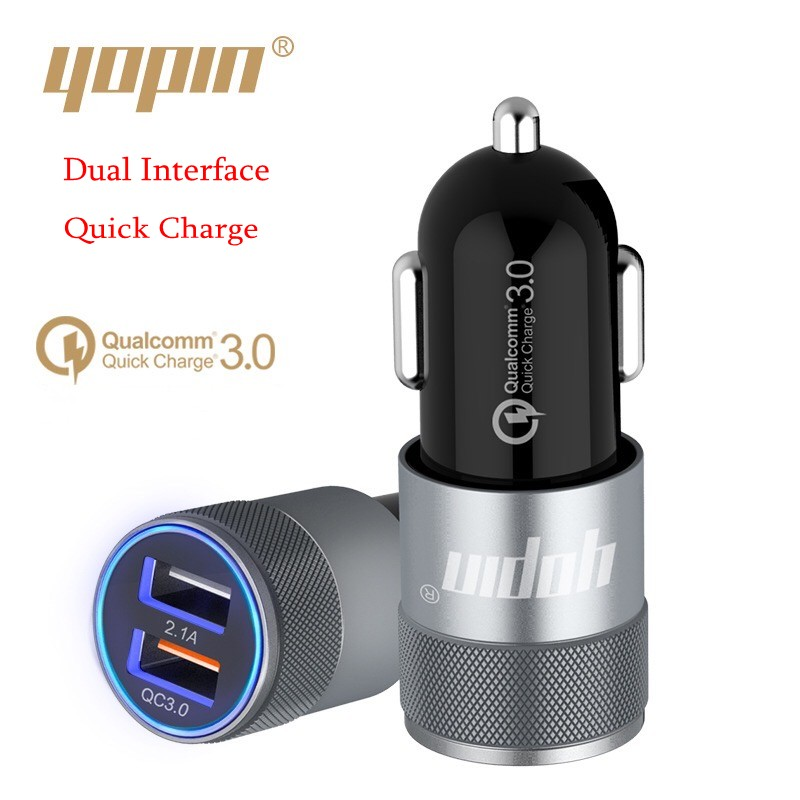 Dual USB mobile phone car charger 12V input 24V output  QC 3.0 quick charger dashboard car charger