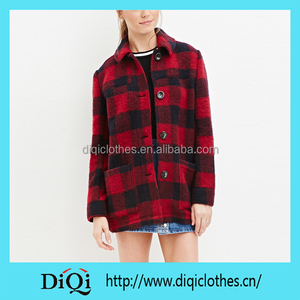 New Arrival Factory Price Export Western Red Buffalo Check Wool-blend Coat