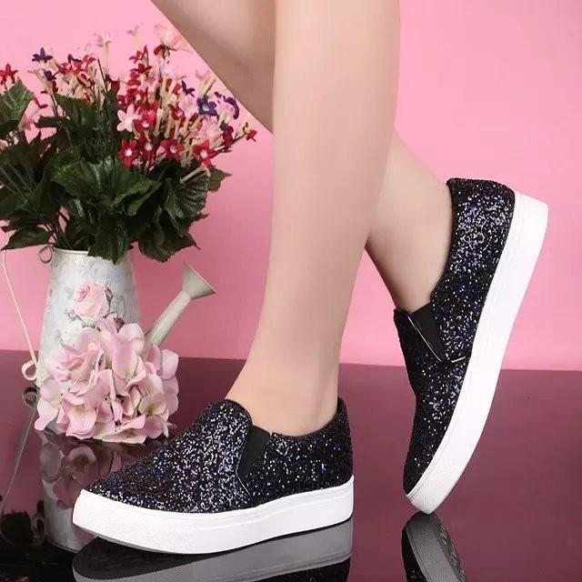 Italian designer branded ladies latest fashion paillette women 2017 flat  casual shoes 6e59a9465b