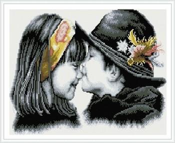 Meisje en jongen kinderen canvas schilderij foto kus diamant gz