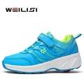 Children Adult Roller Skate Sneakers With Wheels Invisible Button Wheelies Shoes Boys Girls Zapatillas Ruedas TX60