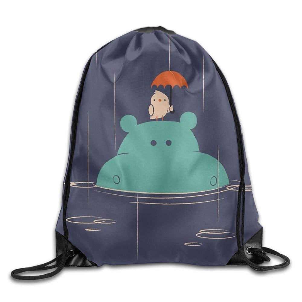 8dac430aab07 Get Quotations · Xyou Bird Held An Umbrella Over The Hippo s Head Drawstring  Backpack Travel Bag Gym Outdoor Sports