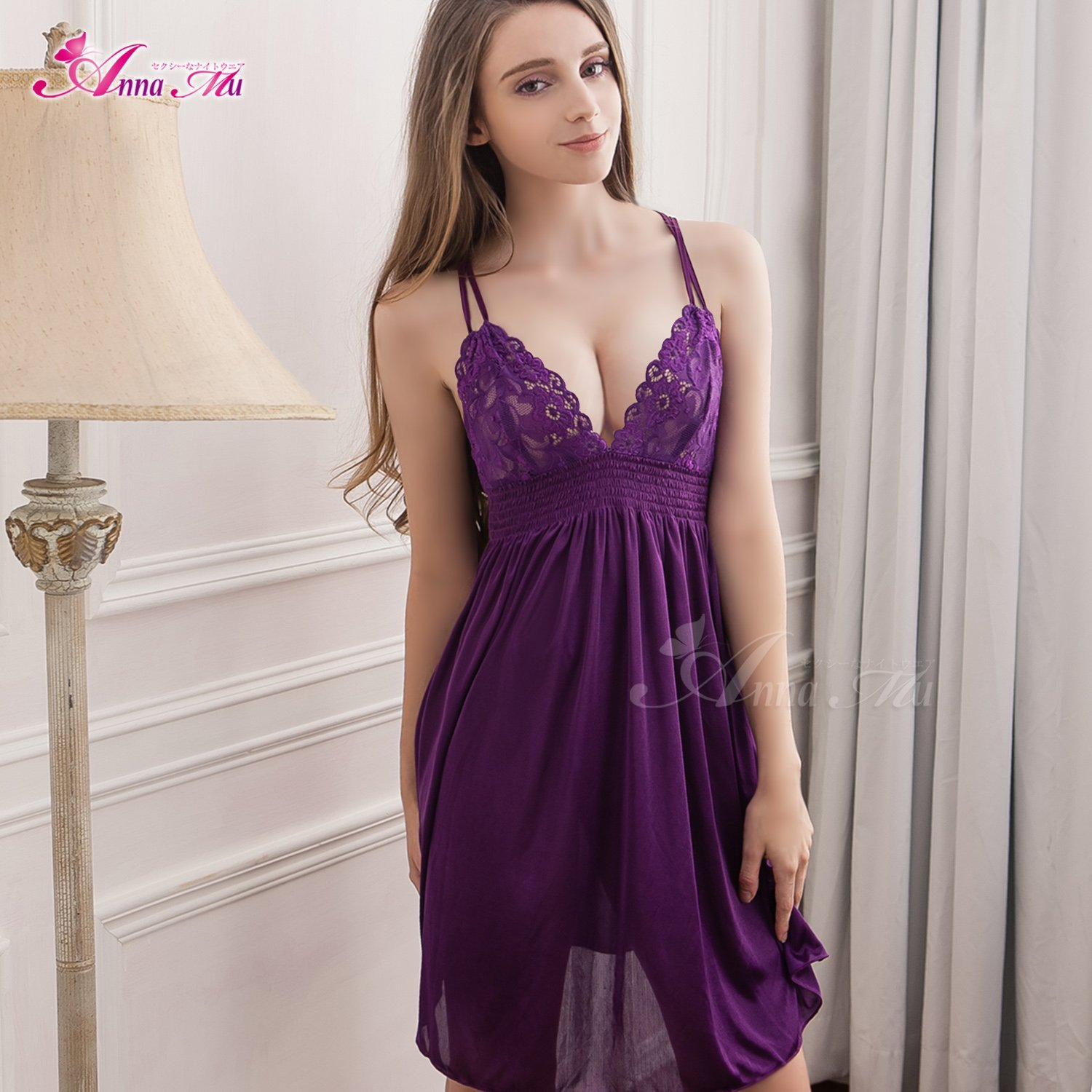Get Quotations · CXYY Sexy lingerie girl temptation summer female ice silk  nightdress deep v sexy plus size sexy 2c8b2f7e1