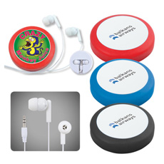 Best sell portable new creative 1.2 m wires  mp3 in-ear earphone in plastic rotating slide up round box for mobile earbuds case
